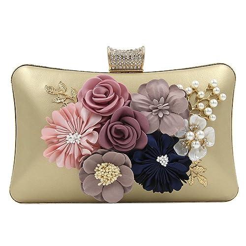 Onfashion Bolso con Flores para Mujer Bolso de Noche Cartera ...