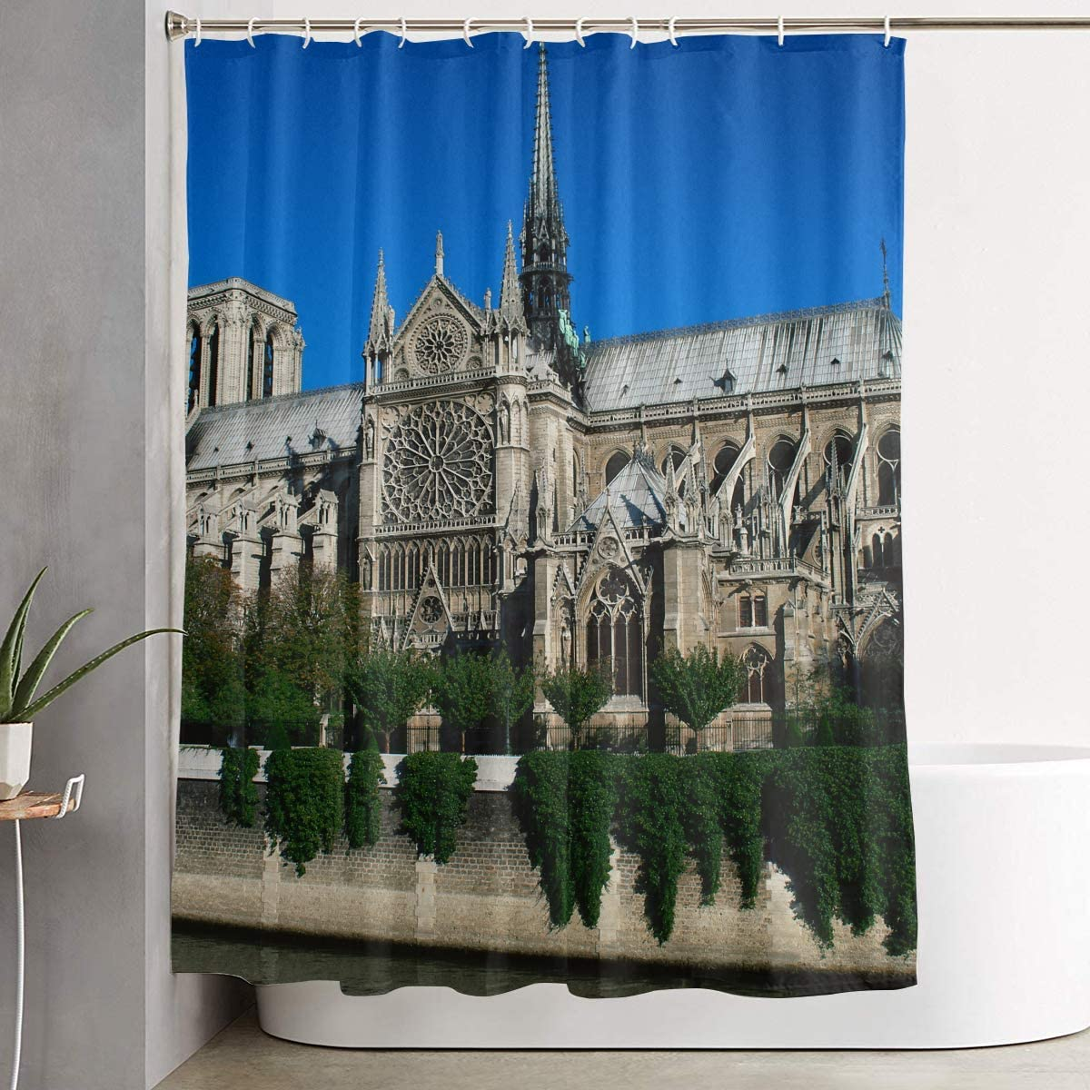 Pooizsdzzz Bathroom Shower Curtain Notre Dame Cathedral Paris Home Decor Shower Curtains with Hooks 60 X 72