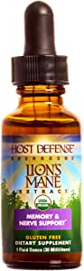 Host Defense, Lion's Mane Extract, Promotes Mental Clarity, Focus and Memory, Daily Mushroom Supplement, Vegan, Organic, 1 fl oz (30 Servings)