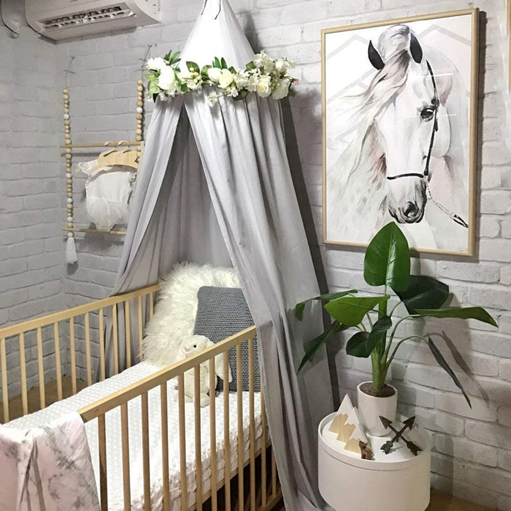 Saewelo Ciel de lit 100/% coton extra long et grand pour lit de b/éb/é certifi/é Oeko Tex Gris