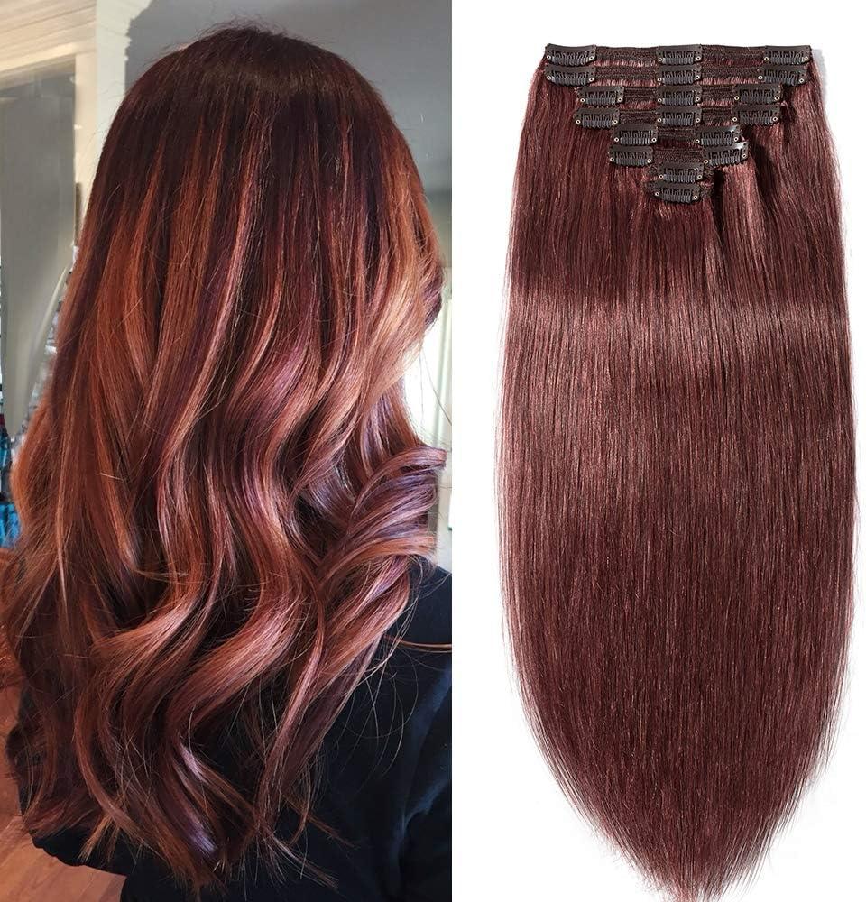 Extensiones de pelo humano Remy de doble trama 100% real, 10-22 pulgadas, cabeza completa, grado 7A, 8 piezas, 18 clips, natural, largo, liso, suave, ...