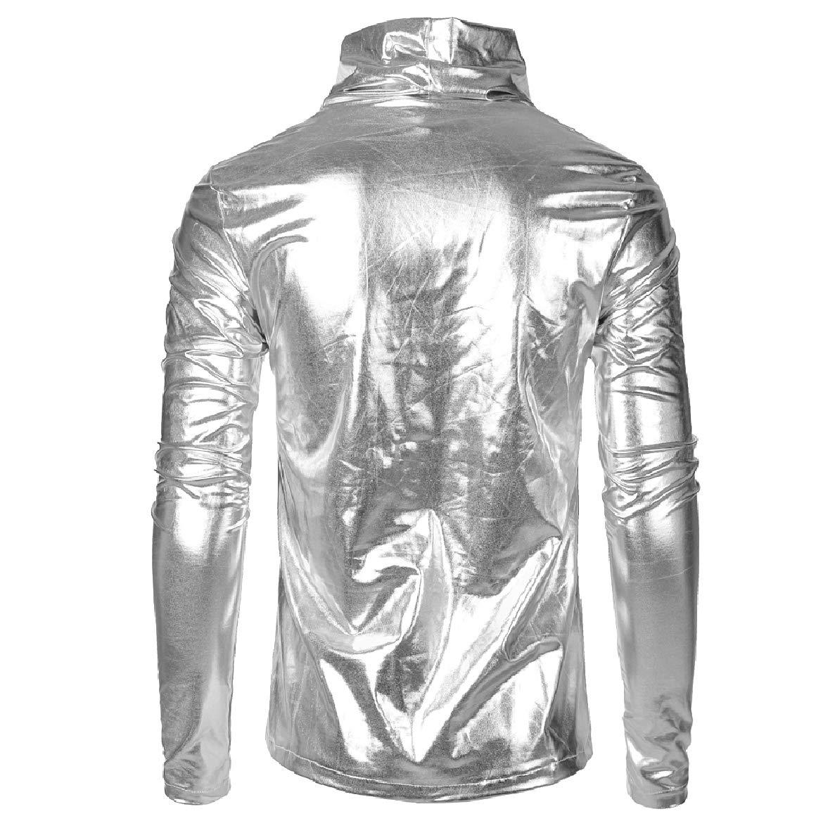 Winwinus Men Pure Color Long Sleeve Faux Leather Fashional Heap Collar Tops Shirts