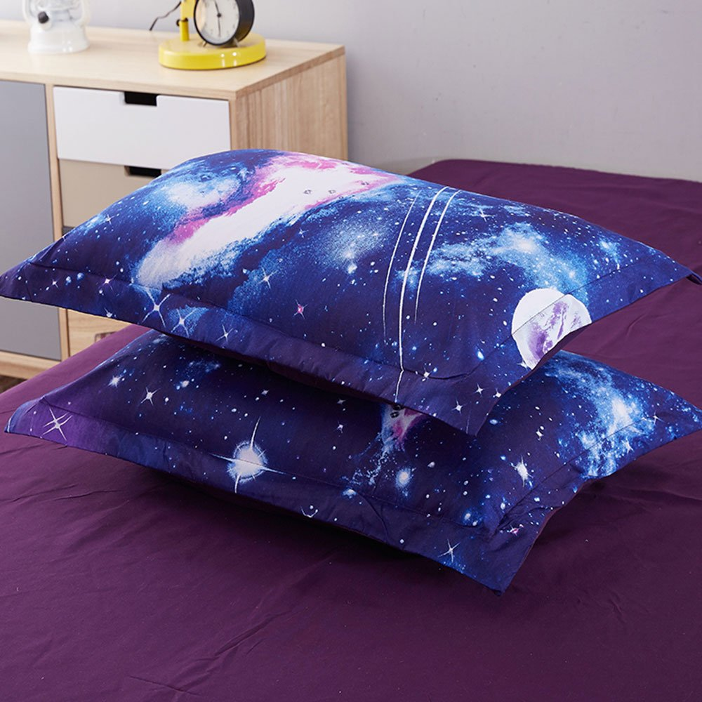 Duvet Cover Set, Star Cosmic Galaxy dark blue, Soft Microfiber Bedding with Zipper Closure(4pcs, King Size) by Cloud Dream (Image #3)