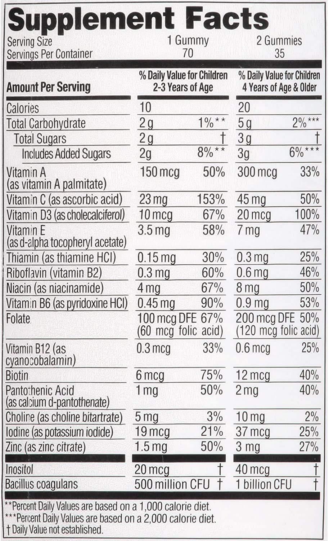 Zarbee Naturals Children Complete Multivitamin  Probiotic Gummies Natural Fruit Flavors 70 Gummies