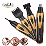 Nose Hair Trimmer, Rechargeable Electric 4 in 1 Men's Grooming Kit for Trimming Beard, Nose&Ear Hair, Eyebrow and Sideburn, YUMOMO Waterproof Male Grooming Set (Not USB Charging, Gold)
