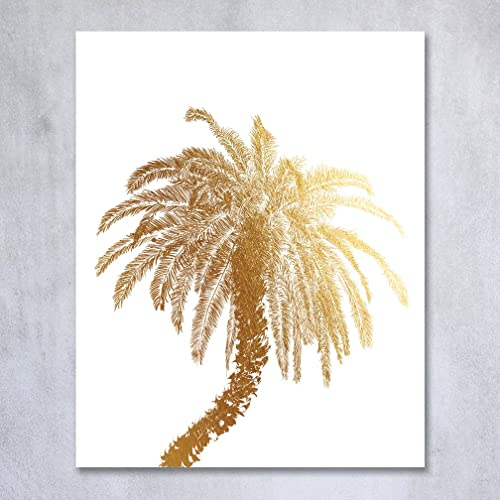 Palm Tree Gold Foil Decor Wall Art Print Island Tropical Art Metallic  Poster 5 Inches X Part 67