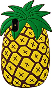 TopSZ Pineapple Case for iPhone X/Xs iPhone 10, Silicone 3D Cartoon Animal Cover,Kids Girls Teens Boys Animated Cool Fun Cute Kawaii Soft Rubber Funny Unique Character Yellow Cases for iPhone X XS