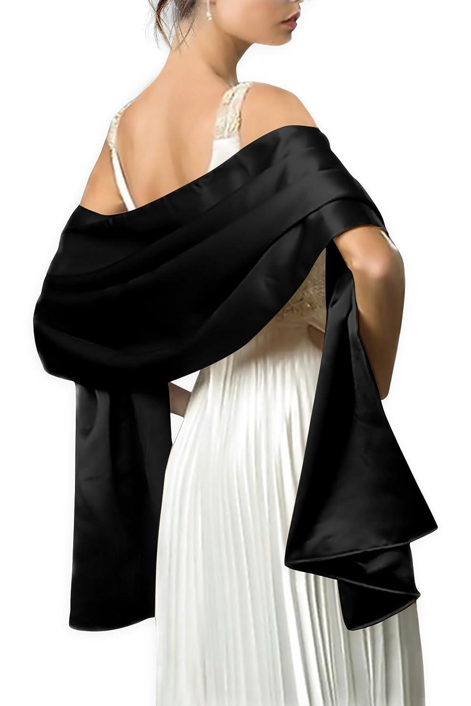 Black Butterfly Satin Shawl Wrap (Black) at Amazon Women&-39-s ...