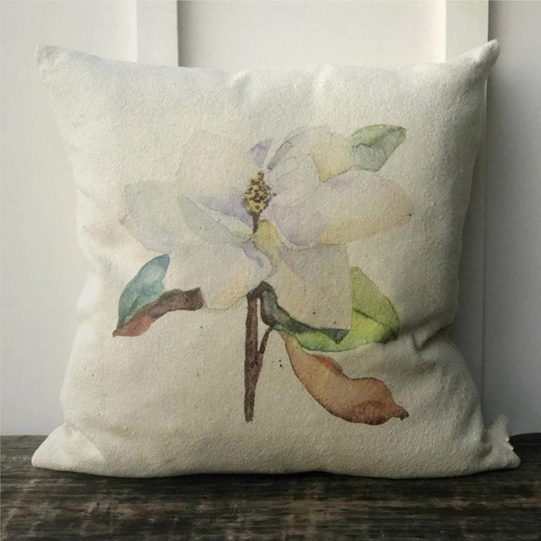 "DONL9BAUER Watercolor Magnolia Grain Sack Farmhouse Cushion Cover Housewarming, Wedding, Anniversary Present Decorative Throw Pillow Covers for Sofa Couch 18""X18"" Cotton Home Decor"