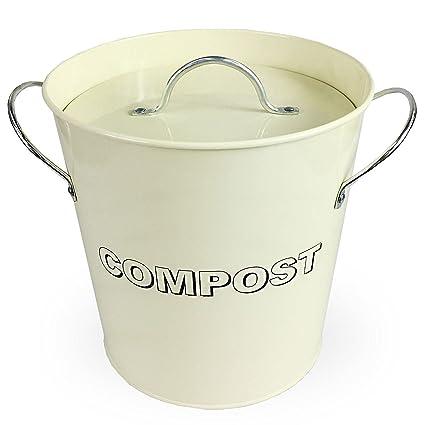 Simpa® - Cubo de cocina metálico para compost, estilo vintage, color crema,