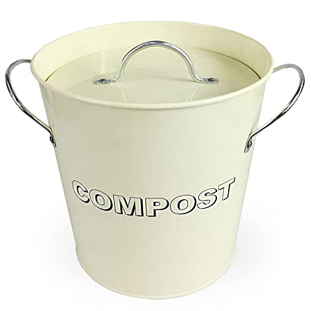 Simpa® Vintage Style Table Top Cream Metal Kitchen Compost Bin Caddy, Composting  Bin For