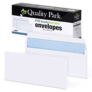 "Quality Park #10 Self-Seal Security Envelopes, Security Tint and Pattern, Redi-Strip Closure, 24-lb White Wove, 4-1/8"" x 9-1/2"", 100/Box (QUA69117)"