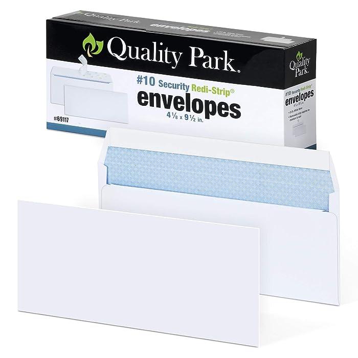 "Quality Park #10 Self-Seal Security Envelopes, Security Tint and Pattern, Redi-Strip Closure, 24-lb White Wove, 4-1/8"" x 9-1/2"", 100/Box (QUA69117)"