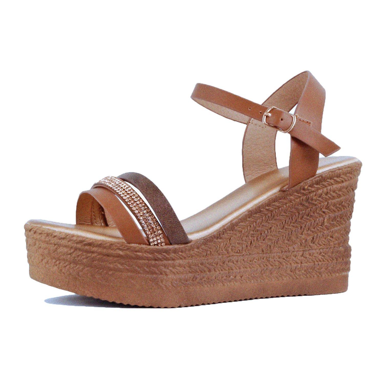 Guilty Heart Womens Summer Rhinestone Strappy Comfortable Casual Wedge | Walking Platform Slingback Sandals B07DF8P4DB 8.5 B(M) US|03 Tan