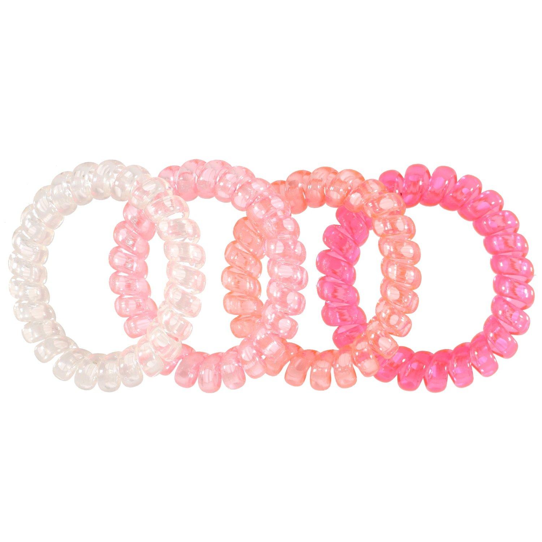 Tata Gisele Set di 4elastiques capelli in silicone–rosa e trasparente–Aspetto filo telefono–Accessori attacher capelli 3701181723043