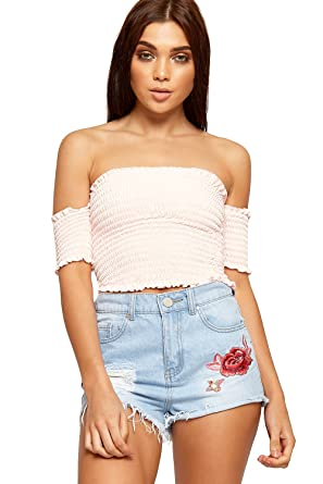 4a072c70891456 WearAll Womens Off Shoulder Boho Gypsy Crop Top Ladies Short Sleeve  Shirring New 6-12  Amazon.co.uk  Clothing