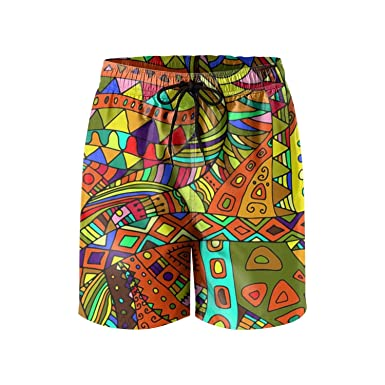 1fe4b59be8 Amazon.com: SNM HILL Mens Quick Dry Beach Shorts Psychedelic Monster Floral Boardshorts  Swim Surf Trunks: Clothing