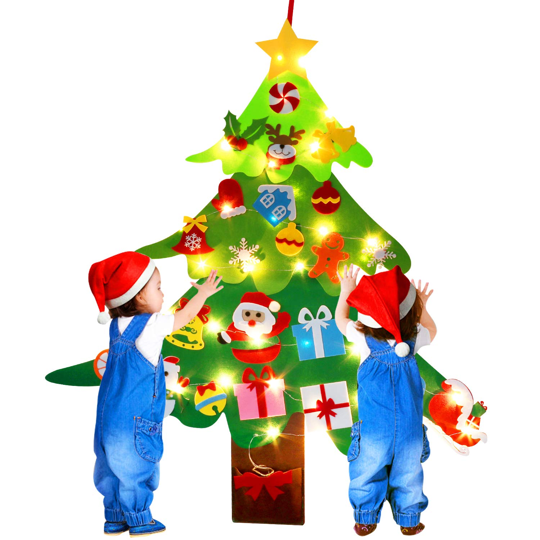 B bangcool DIY Felt Christmas Tree Wall Décor, 3.2 FT Hanging Christmas Wall Decorations 30 PCS Ornaments for New Year Christmas (Felt Christmas Tree + String Light)
