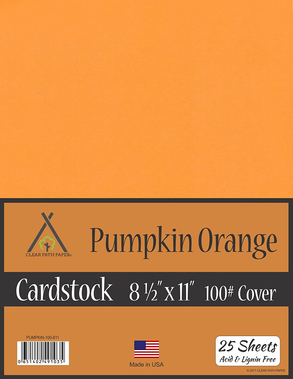 Pumpkin Orange Cardstock - 8.5 x 11 inch - 100Lb Cover - 25 Sheets Clear Path Paper