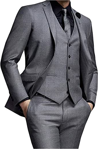 Startview Men/'s Suit Slim 3-Piece Suit Blazer Business Wedding Party Jacket Vest /& Pants