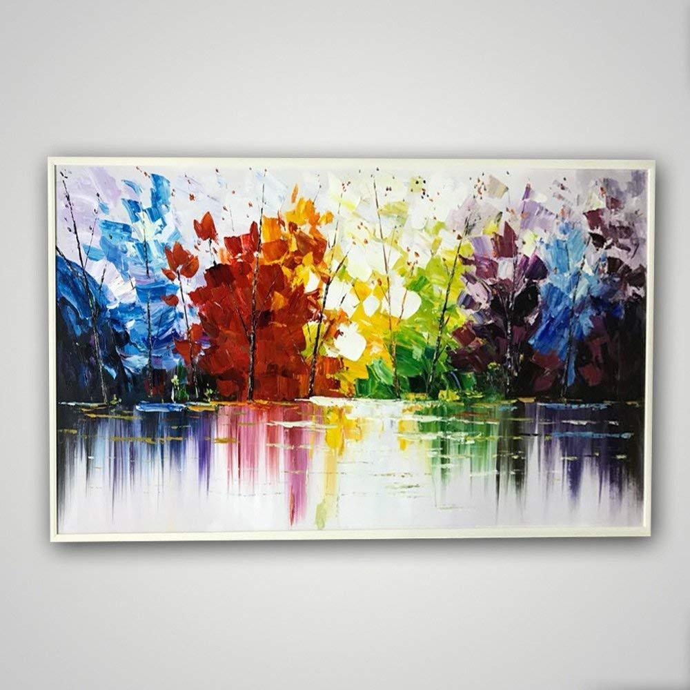 Hochwertiger handbemalt Landschaftsmalerei Dick Messer Ölgemälde Ölgemälde Farbe Abstrakt Woods duftende HAUS Wandbild Wohnzimmer Artwork, canvas, 24x48inch(60x120cm)