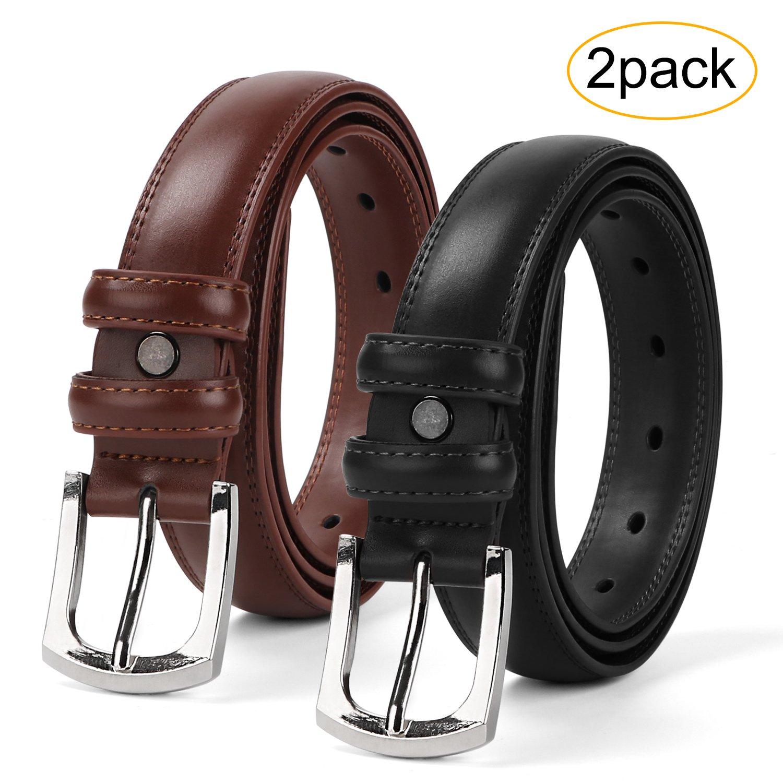 Men's Dress Belt Genuine Leather Black Design Belt with Prong Buckle Elegant Gift Box (Suit for Pant Size 35-38inch, 04-Black+Brown)