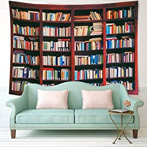 """ENJOHOS Library Tapestry Classical Bookshelf Crammed with Books Study Room Scene Picture Art Print Large 3D Wall Hanging for Home Decoration W79"""" x T59"""""""