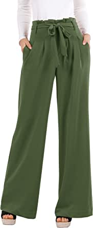 Meilidress Women's High Waisted Work Casual Wide Leg Palazzo Pants Trousers with Pockets