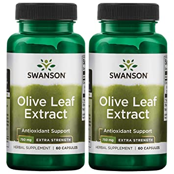 Swanson Olive Leaf Extract Super Strength 750 Milligrams 60 Capsules 2 Pack