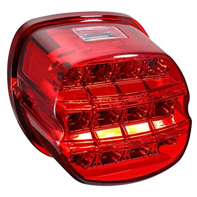 Electra Glide Smoked LED Rear Tail Light Taillight Braking Lamp for Road Glide Road King Dyna Softail Fat Boy Sportster Street Bob Touring, Red Cover: Automotive
