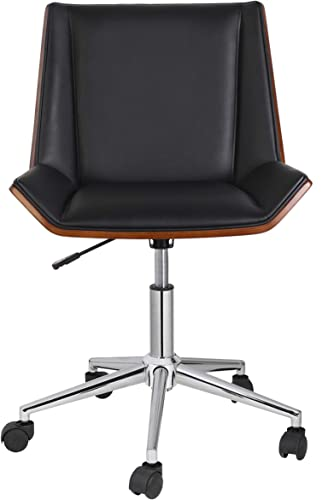 Porthos Home Office Chair With PVC upholstery 360-Degree Swivel And Adjustable Height Mid-Century Style In Black Or White , One Size,