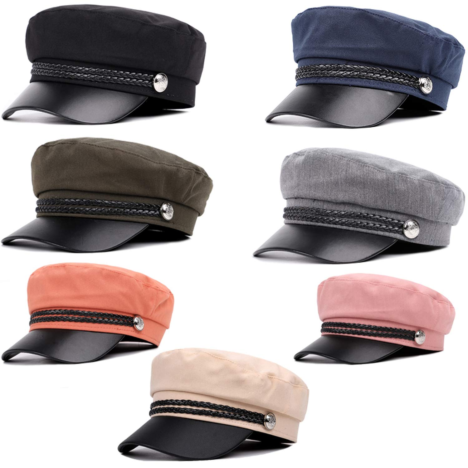 Mens Washed Cotton Flat top Military Cap Solid Color Fashion Button hat Leather niversal Outdoor