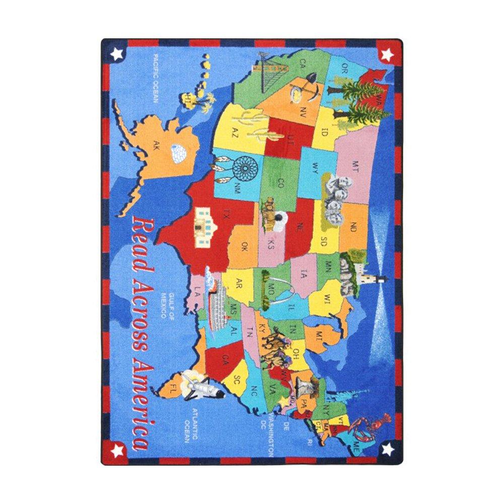Joy Carpets Kid Essentials Geography & Environment Read Across America Rug, Multicolored, 7'8'' x 10'9''