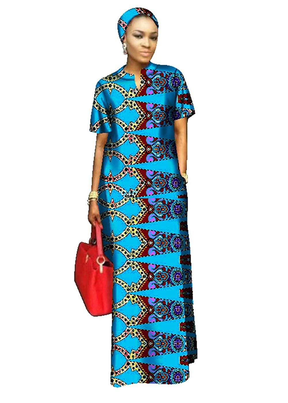 24fs1217 BintaRealWax Womens Straight Cut Ankara Maxi Dress Short Sleeve African Dress & Head Wrap