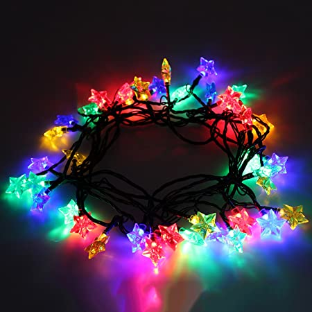 40 multi coloured led christmas tree lights string with star shade 18m cable
