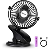 SkyGenius Battery Operated Stroller Fan, Rechargeable USB Powered Mini Clip on Desk Fan