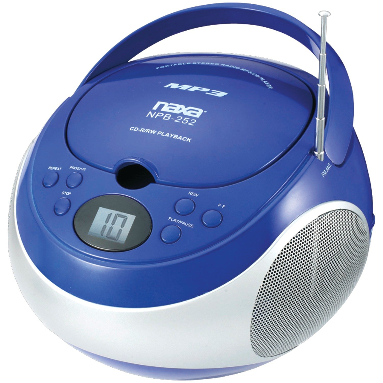 NAXA Electronics Portable MP3/CD Player with AM/FM Stereo Radio (Blue) by Naxa Electronics