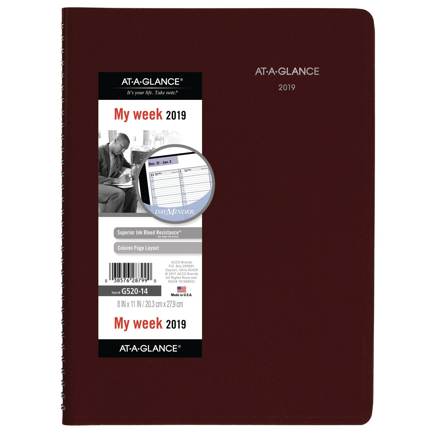 AT-A-GLANCE G52014-18 DayMinder Weekly Appointment Book / Planner, January 2019 - December 2019, 8'' x 11'', Burgundy (G52014) by At-A-Glance (Image #1)