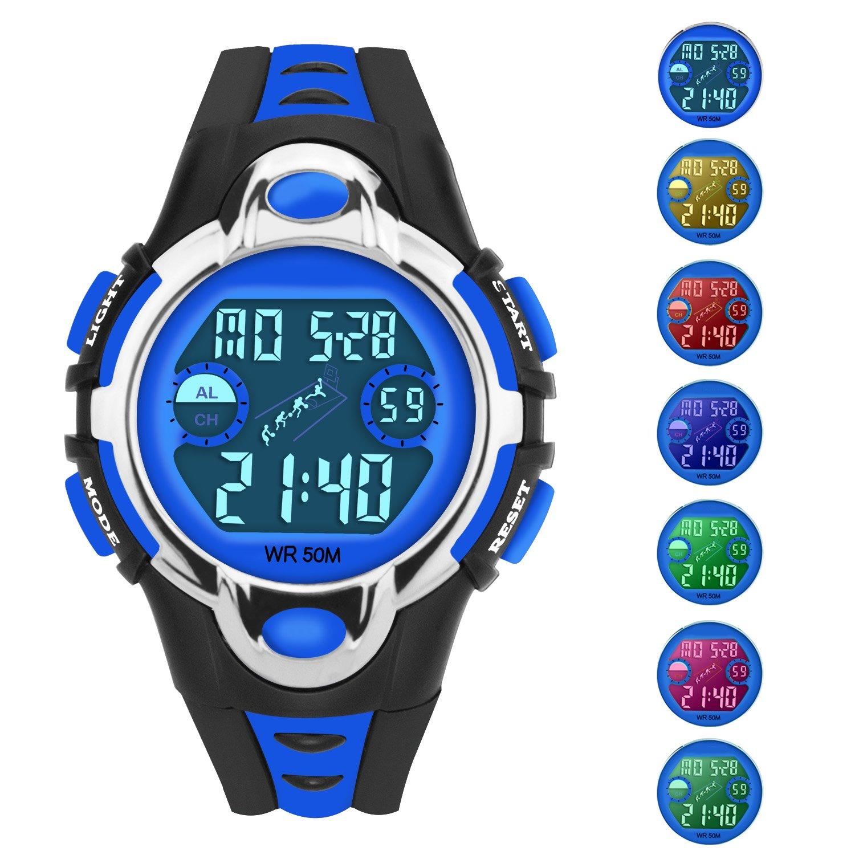 Kids Sports Watches Children for Girls Boys Kid Watch 50M Waterproof Sport Dual Display LED Kid Watch
