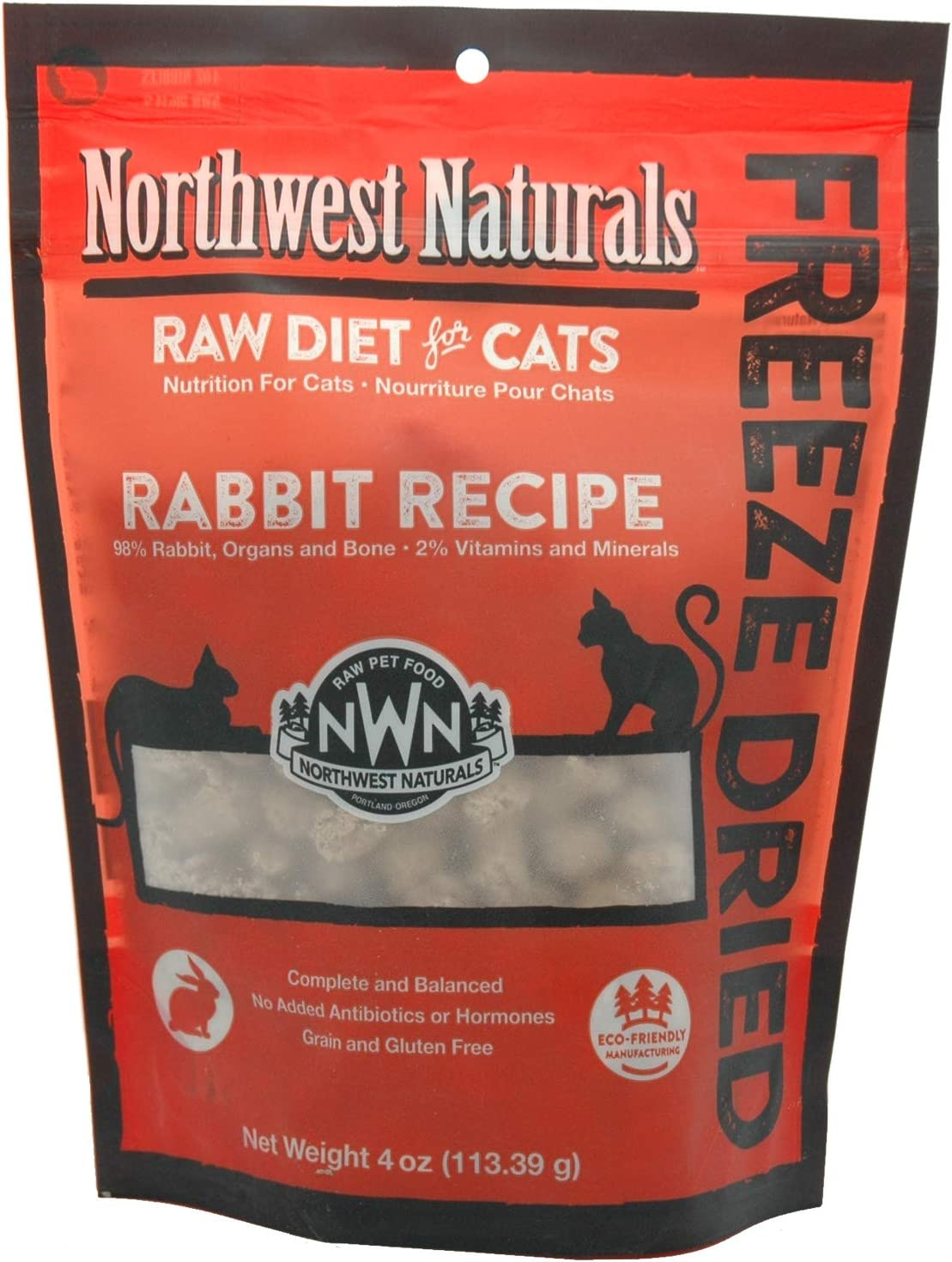 Northwest Naturals Freeze-Dried Cat Nibbles Rabbit Recipe 4 Ounces