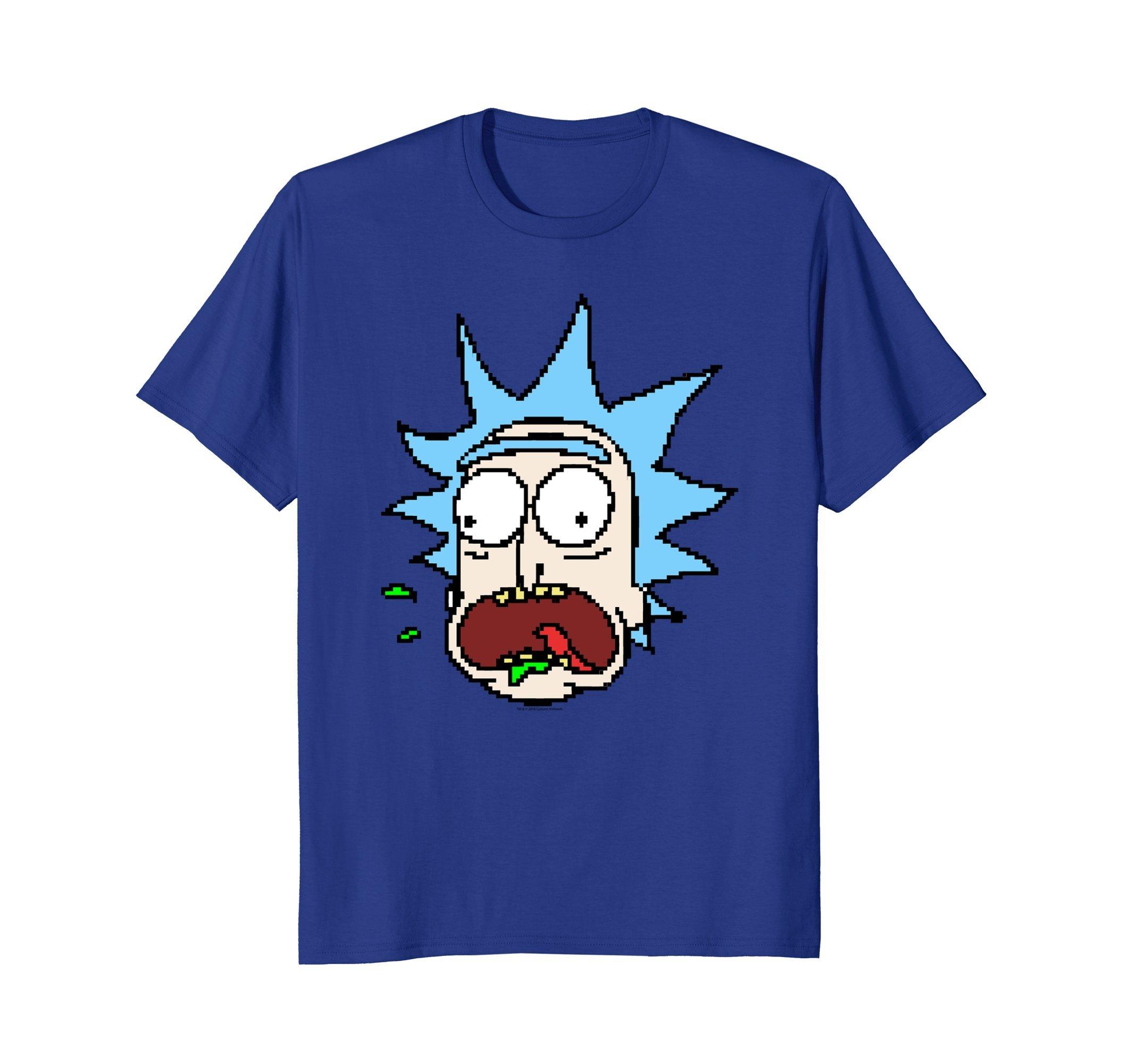 Rick Morty 8 Bit Rick Face Shirts