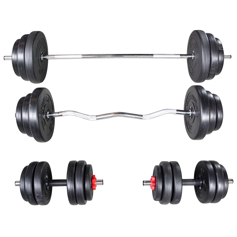 TrainHard® 90 kg bis 150 kg Hantelset aus Langhantel Curlhantel Kurzhantel Hantelstange Hantelscheiben Kunststoff Gewichten