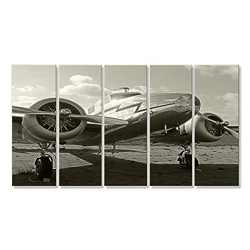 islandburner Cuadro Avión de Transporte de la era de la Segunda Guerra Mundial estacionado en el Suelo Impresión Sobre Lienzo - Formato Grande - Cuadros ...