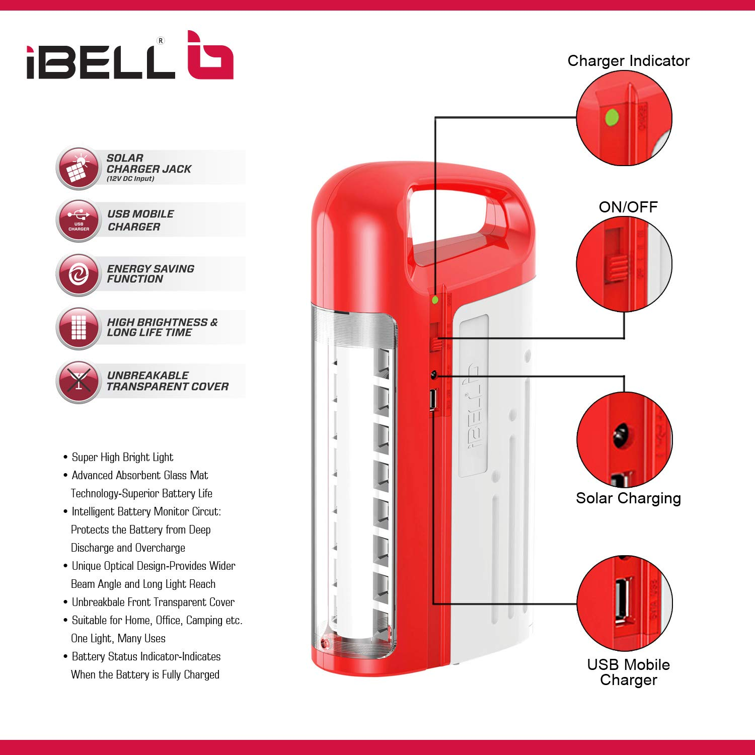 iBELL 8432 Rechargeable Emergency Light, LED Tubes with LED, USB & Solar  Charger Jacks