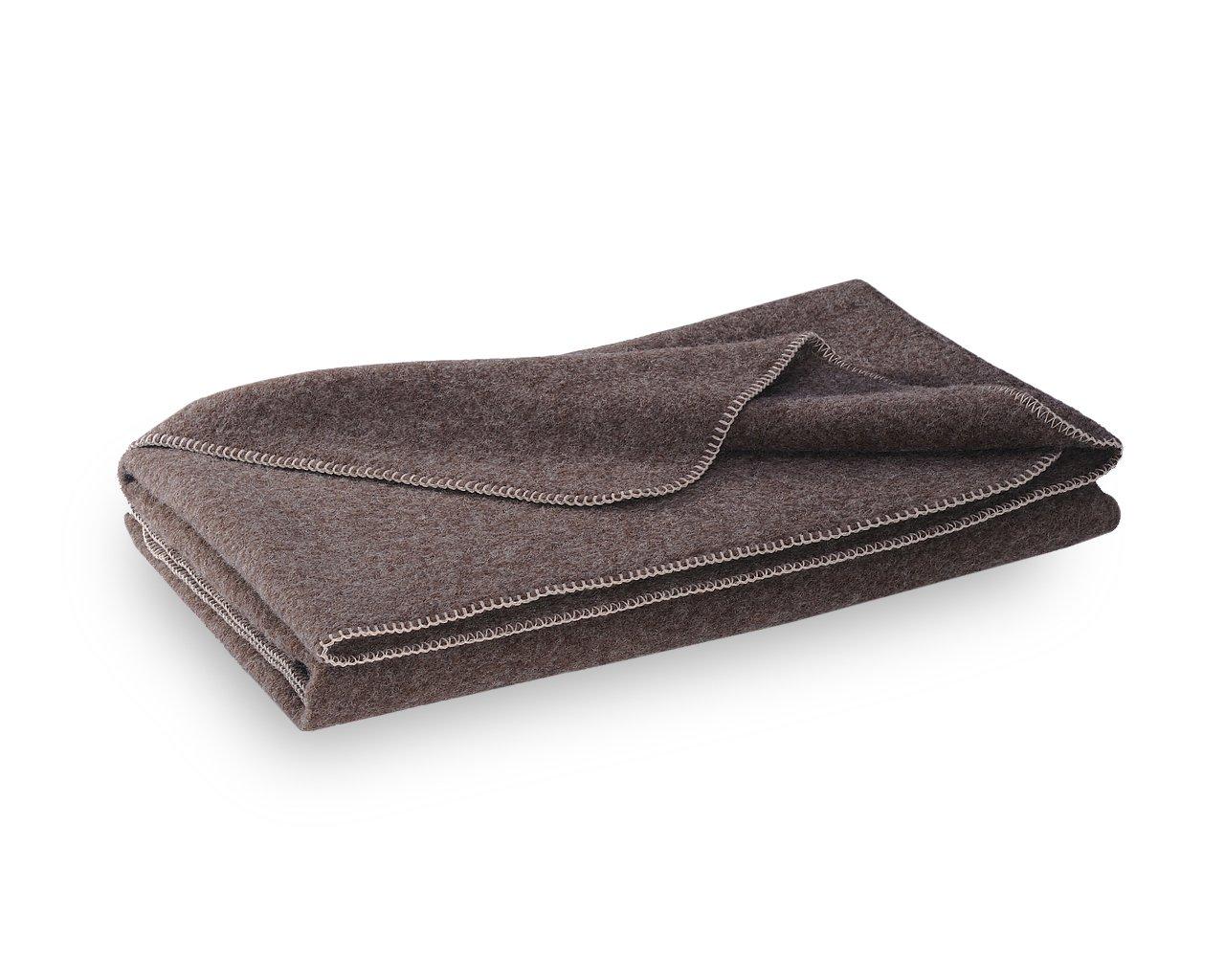 STEINER  Dicke Wolldecke aus brauner Schurwolle, umkettelt