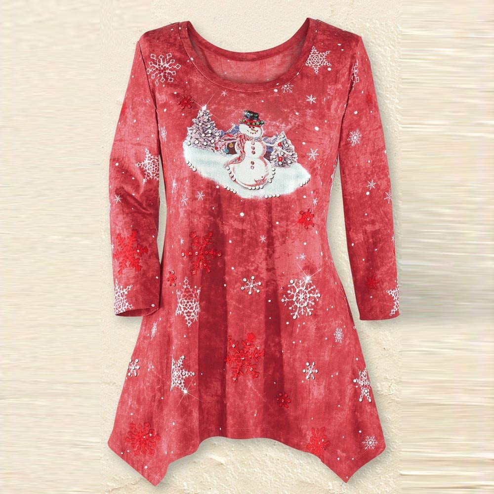 Womens Plus Size Festive Waterfall Xmas Irregular Hem Shirt Top Misaky Christmas Blouse