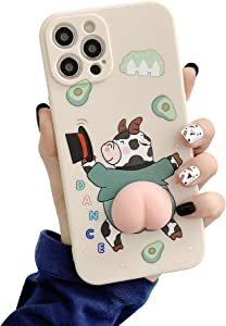 BONTOUJOUR Phone Case for iPhone 11, Men Women Super Funny Releasing Pressure 3D Squeezable Butt Gentleman Cow Soft TPU Silicone Rubber Cover Case Full Body Camera Covered Protection -Cow