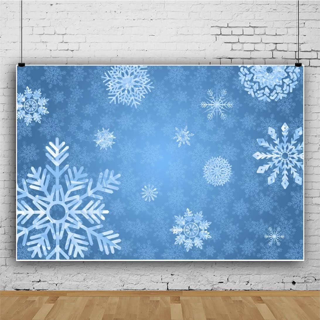Yeele Snowflake Blue Backdrop 10x8ft Kids Christmas Portrait Background Xmas Party Decoration Kids Adult Portrait Photo Booth Photoshoot Props
