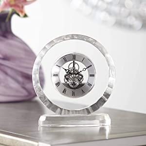 "Dahlia Studios Aimee 6 3/4"" Round Crystal Table Clock"