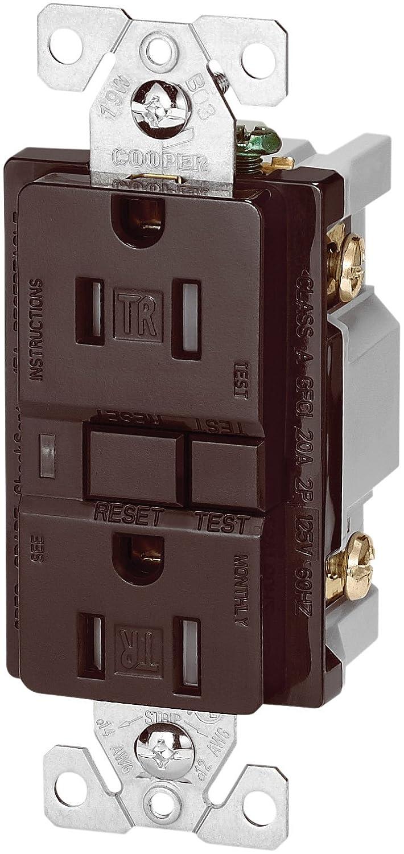 Brown EATON Wiring TRVGF15B Tamper Resistant GFCI Decorator Duplex Receptacle